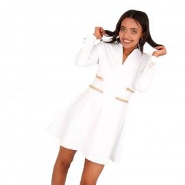 Λευκό Mini Φόρεμα με Χρυσές Λεπτομέρειες
