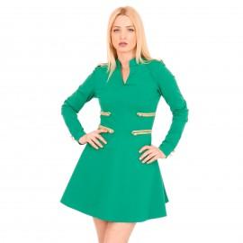 Πράσινο Mini Φόρεμα με Χρυσές Λεπτομέρειες
