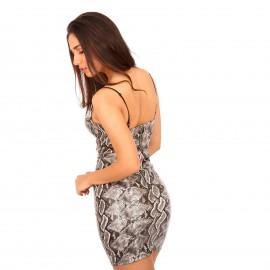 Γκρι Φίδι Ματ Mini Φόρεμα