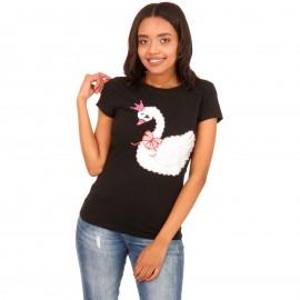 Μαύρο T-Shirt με Στάμπα και Strass