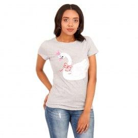 Γκρι T-Shirt με Στάμπα και Strass