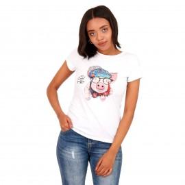 Λευκό T-Shirt με Στάμπα και Strass