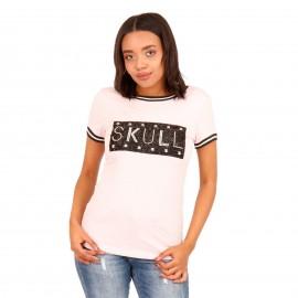 Ρόζ T-Shirt με Στάμπα και Strass