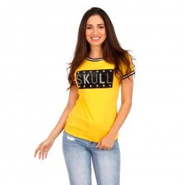 Κίτρινο T-Shirt με Στάμπα και Strass