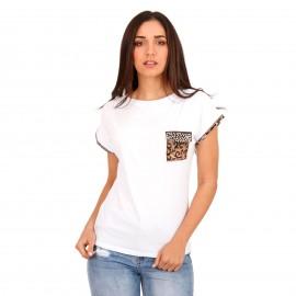 Λευκό Μπλουζάκι με Λεοπάρ Λεπτομέρειες