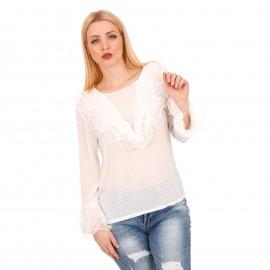 Λευκή Πουά Μπλούζα με Βολάν και C - Throu Λεπτομέρειες