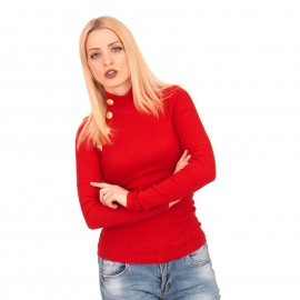 Κόκκινη Ripped Μπλούζα Ζιβάγκο με Κουμπιά