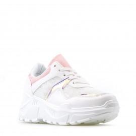 Λευκά Sneakers με Ρόζ Ιριδίζουσες Λεπτομέρειες