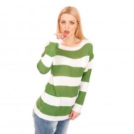 Ριγέ Πλεκτή Μπλούζα με Πράσινες και Λευκές Ρίγες