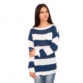 Ριγέ Πλεκτή Μπλούζα με Μπλε και Λευκές Ρίγες