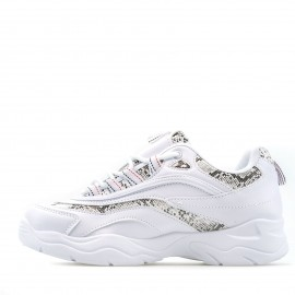 Λευκά Sneakers με Snake Print Λεπτομέρειες