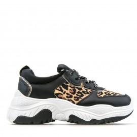 Μαύρα Δίπατα Sneakers με Λεοπάρ Λεπτομέρειες