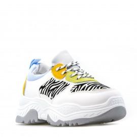 Λευκά Δίπατα Sneakers με Ζεβρέ Λεπτομέρειες