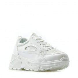 Λευκά Δίπατα Sneakers με Τρακτερωτή Σόλα