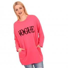 Ρόζ Fluo Μπλουζοφόρεμα με Στάμπα