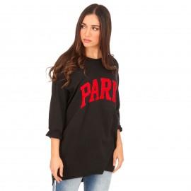 Μαύρο Μπλουζοφόρεμα με Στάμπα