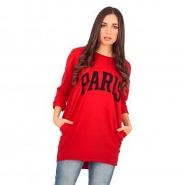 Κόκκινο Μπλουζοφόρεμα με Στάμπα