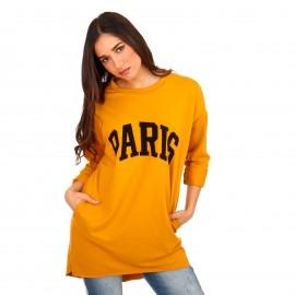 Κίτρινο Μπλουζοφόρεμα με Στάμπα
