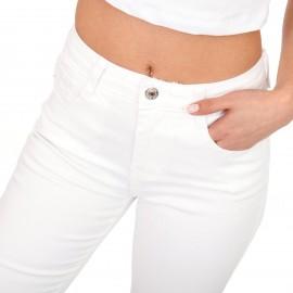 Λευκό Τζιν Παντελόνι με Σκισίματα