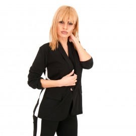 Μαύρο Σετ Σακάκι - Παντελόνι με Ρίγα στο Πλάι