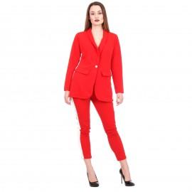 Κόκκινο Σετ Σακάκι - Παντελόνι με Ρίγα στο Πλάι