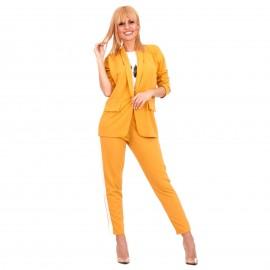 Κίτρινο Σετ Σακάκι - Παντελόνι με Ρίγα στο Πλάι