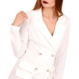Λευκό Mini Φόρεμα με Χρυσά Κουμπιά