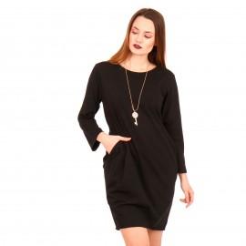 Μαύρο Mini Φόρεμα με Διακοσμητικό Κολιέ