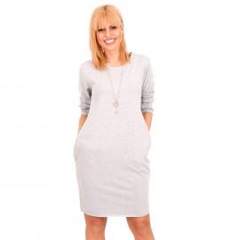 Γκρι Mini Φόρεμα με Διακοσμητικό Κολιέ