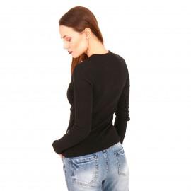 Μαύρη Ripped Μακρυμάνικη Μπλούζα με Φερμουάρ