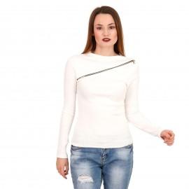 Λευκή Ripped Μακρυμάνικη Μπλούζα με Φερμουάρ