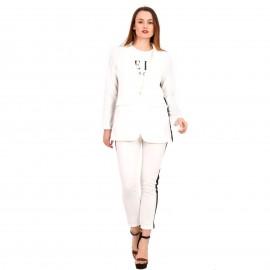 Λευκό Σετ Σακάκι - Παντελόνι με Ρίγα στο Πλάι