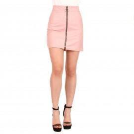 Ροζ Ματ Mini Φούστα με Φερμουάρ