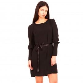 Μαύρο Mini Φόρεμα με Κουμπιά και Ζωνάκι