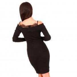 Μαύρο Αμάνικο Μini Φόρεμα με Δαντέλα