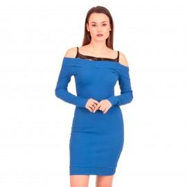 Μπλε Ρουά Αμάνικο Μini Φόρεμα με Δαντέλα