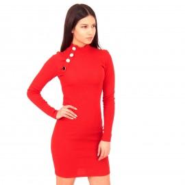 Κόκκινο Ripped Mini Φόρεμα με Κουμπιά
