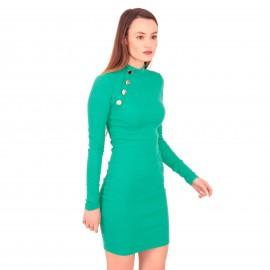 Πράσινο Ripped Mini Φόρεμα με Κουμπιά