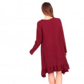 Μπορντό Mini Φόρεμα με Βολάν