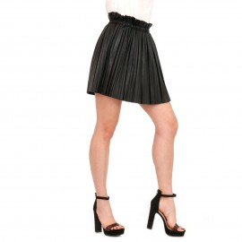 Μαύρη Ματ Plisse Mini Φούστα