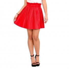 Κόκκινη Ματ Plisse Mini Φούστα