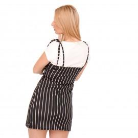 Μαύρο Ριγέ Mini Φόρεμα με Λευκό Εσωτερικό Τοπ