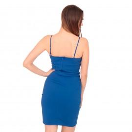 Μπλε Ρουά Αμάνικο Mini Φόρεμα