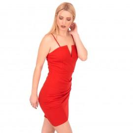 Κόκκινο Αμάνικο Mini Φόρεμα
