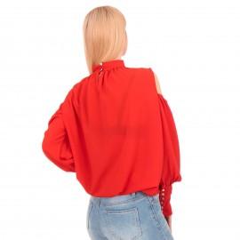 Κόκκινη Μπλούζα με Έξω τους Ώμους