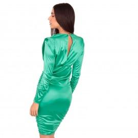 Πράσινο Σατέν Mini Φόρεμα