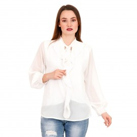 Λευκή Μπλούζα με Φραμπαλά