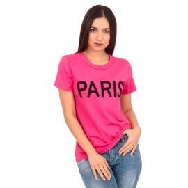 Φούξια T-Shirt με Στάμπα
