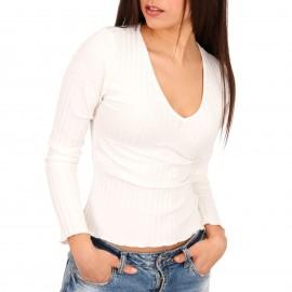 Λευκή Ripped Μακρυμάνικη Μπλούζα