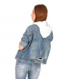 Τζιν Jacket με Λευκή Κουκούλα